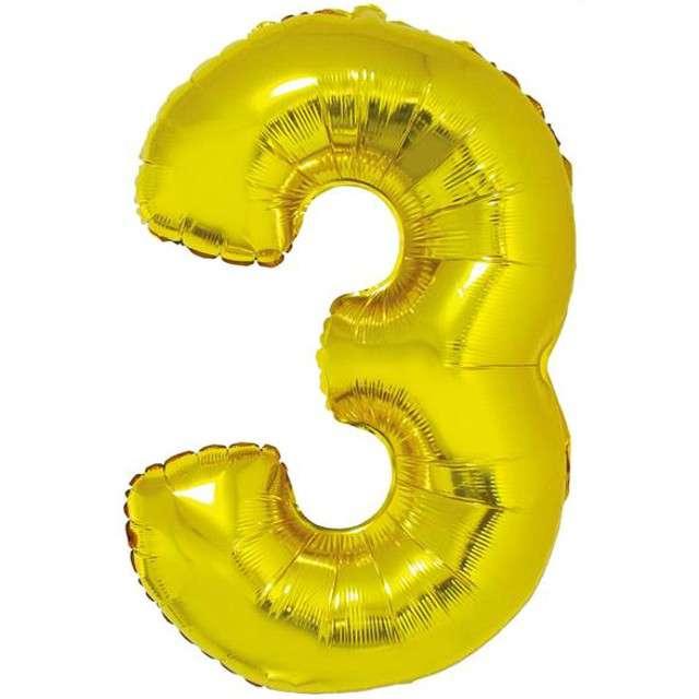 """Balon foliowy cyfra 3, 34"""", GoDan, złota"""