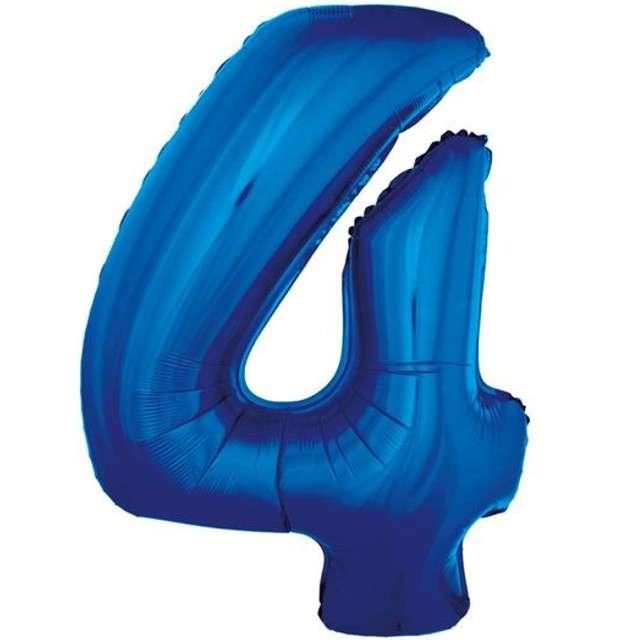 """Balon foliowy cyfra 4, 34"""", GoDan, niebieska"""