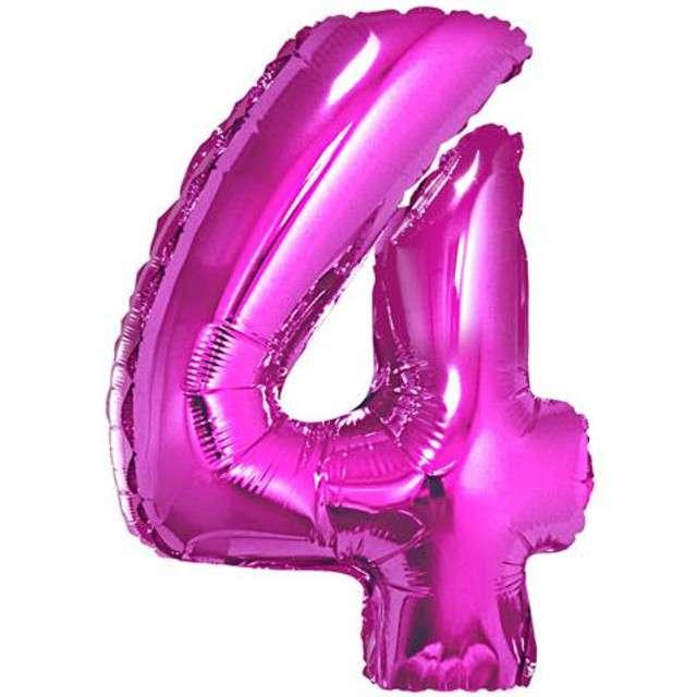 """Balon foliowy cyfra 4, 34"""", GoDan, różowa"""