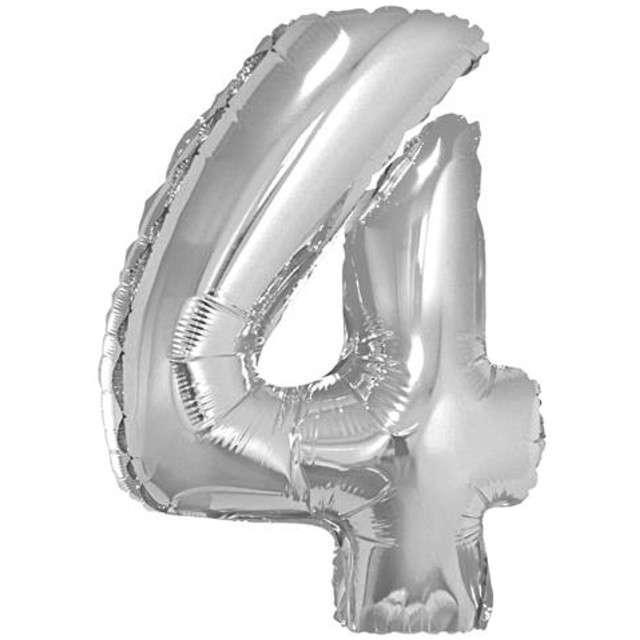 "Balon foliowy cyfra 4, 14"", GoDan, srebrna"