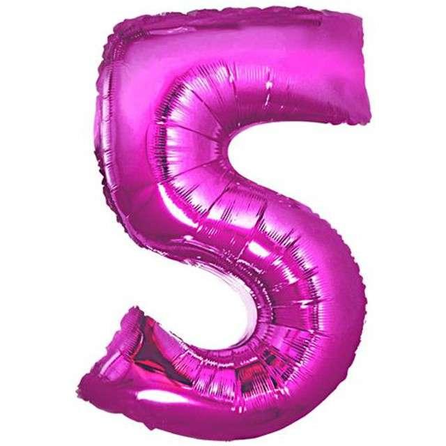 """Balon foliowy cyfra 5, 34"""", GoDan, różowa"""