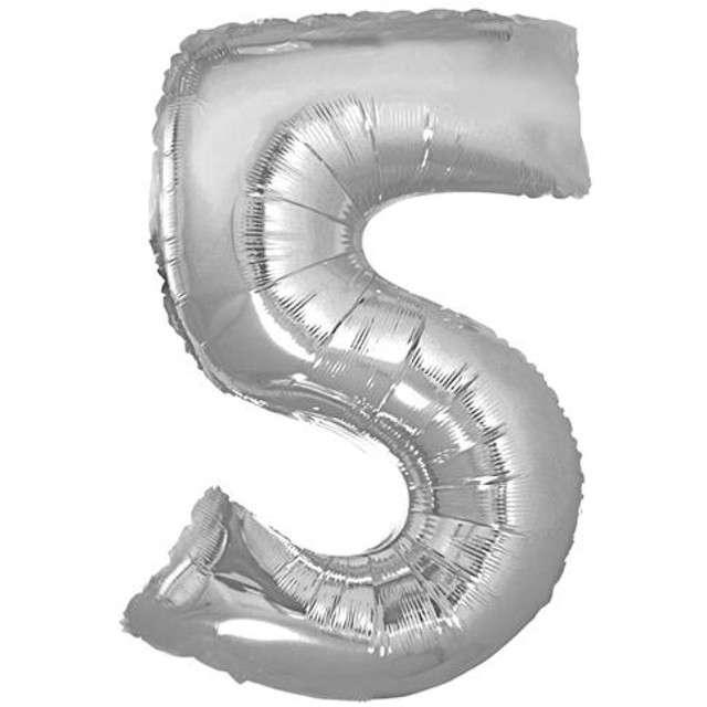 "Balon foliowy cyfra 5, 14"", GoDan, srebrna"