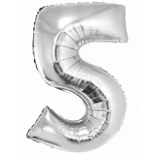 "Balon foliowy cyfra 5, 34"", GoDan, srebrna"
