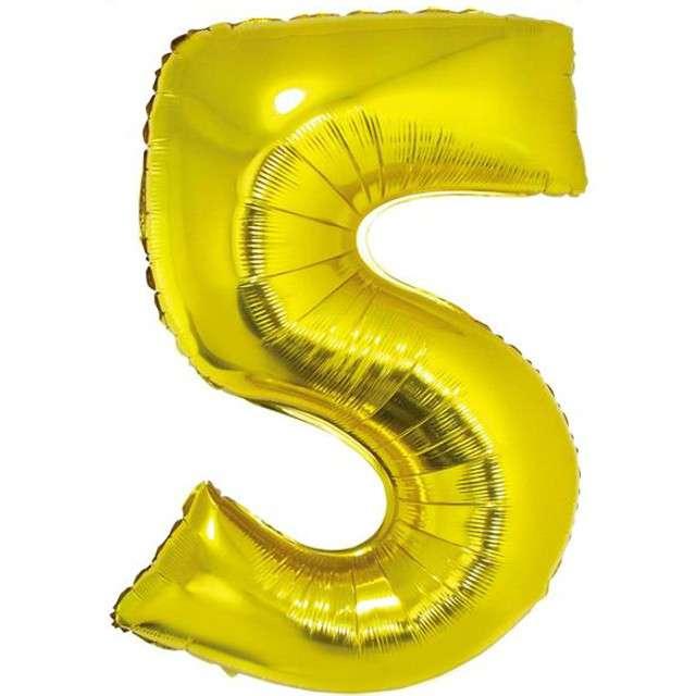 """Balon foliowy cyfra 5, 34"""", GoDan, złota"""