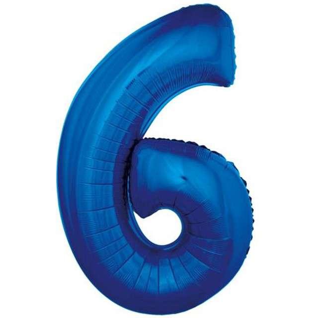 """Balon foliowy cyfra 6, 34"""", GoDan, niebieska"""