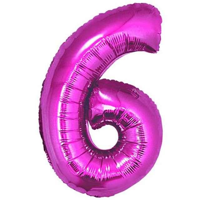 """Balon foliowy cyfra 6, 34"""", GoDan, różowa"""