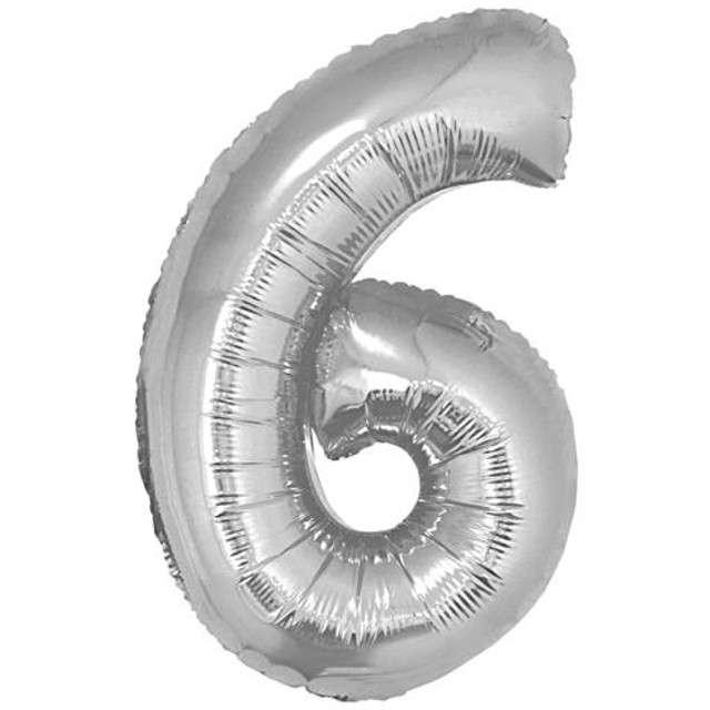"Balon foliowy cyfra 6, 14"", GoDan, srebrna"