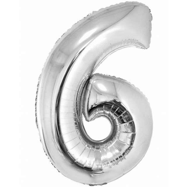 "Balon foliowy cyfra 6, 34"", GoDan, srebrna"