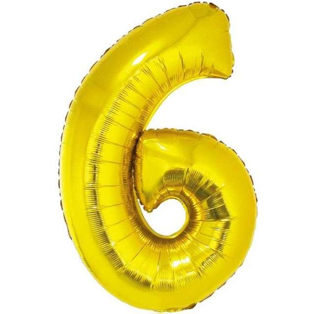 """Balon foliowy cyfra 6, 14"""", GoDan, złota"""