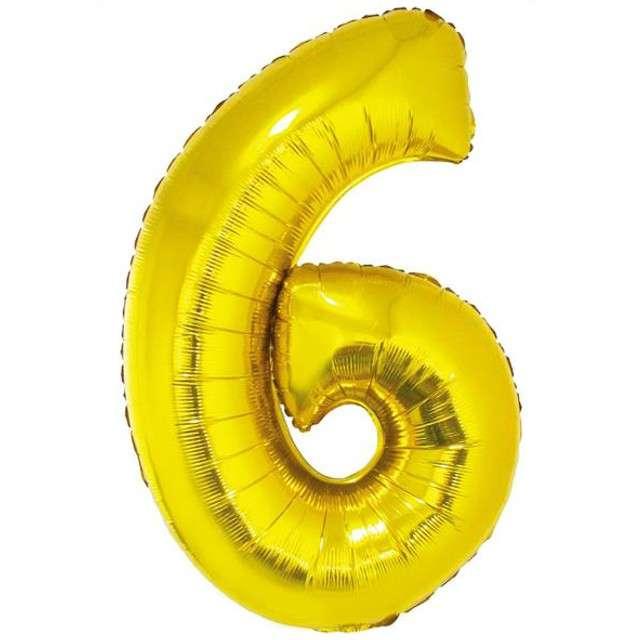 """Balon foliowy cyfra 6, 34"""", GoDan, złota"""
