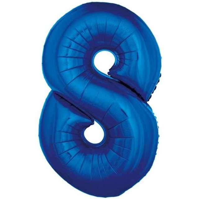 """Balon foliowy cyfra 8, 34"""", GoDan, niebieska"""