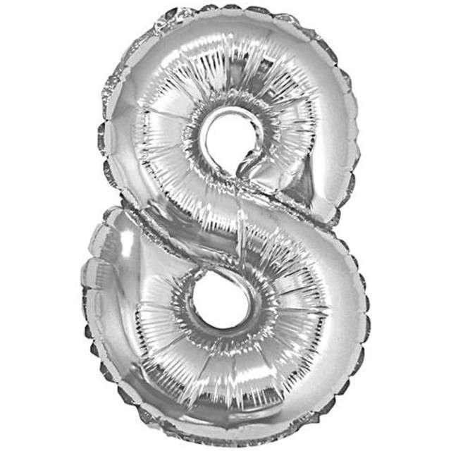 "Balon foliowy cyfra 8, 14"", GoDan, srebrna"