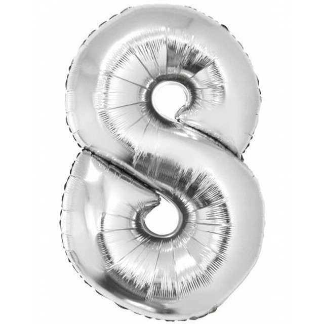 "Balon foliowy cyfra 8, 34"", GoDan, srebrna"