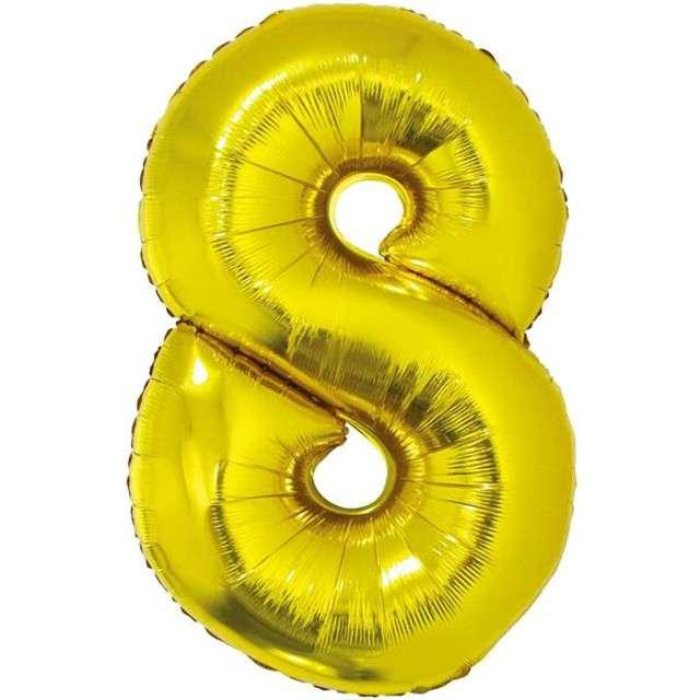 """Balon foliowy cyfra 8, 14"""", GoDan, złota"""