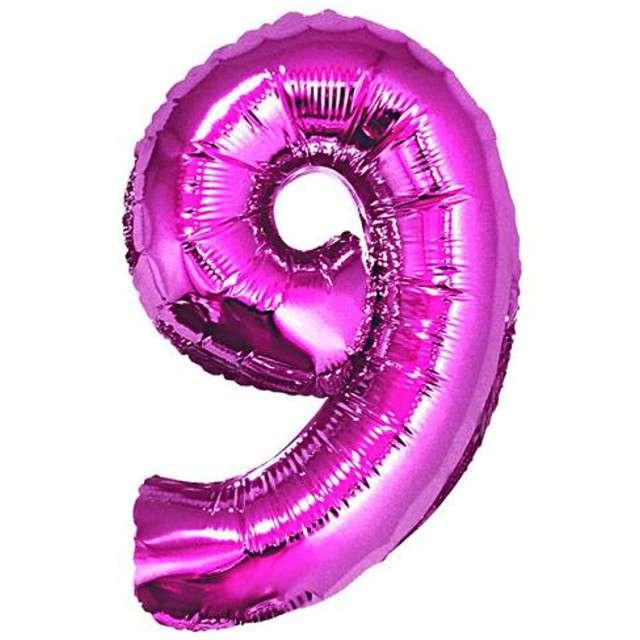 """Balon foliowy cyfra 9, 34"""", GoDan, różowa"""