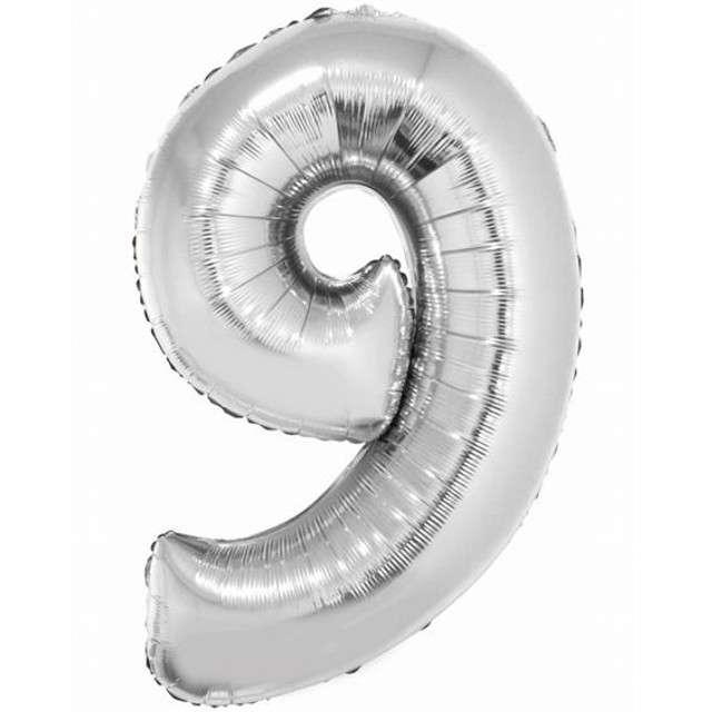 "Balon foliowy cyfra 9, 34"", GoDan, srebrna"