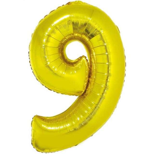 """Balon foliowy cyfra 9, 34"""", GoDan, złota"""
