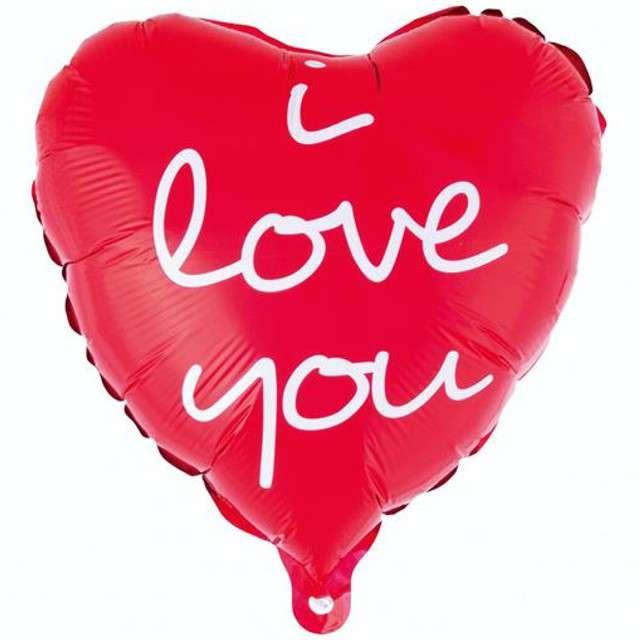 """Balon foliowy """"I LOVE YOU"""", czerwony, GODAN, 18"""" HRT"""