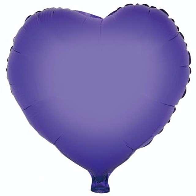 "Balon foliowy ""Serce"", fioletowe, GODAN, 18"" HRT"