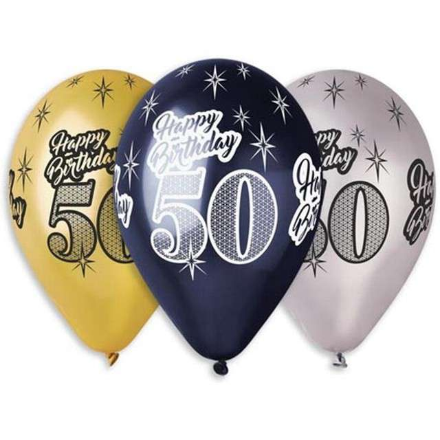 "Balony ""50 Happy Birthday"", metalik mix, GEMAR, 12"", 6 szt"