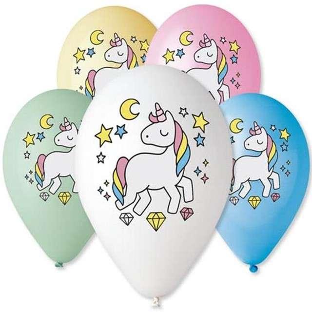 """Balony 12"""", """"Jednorożec - Magiczna noc"""", GEMAR, MIX, 5 szt"""