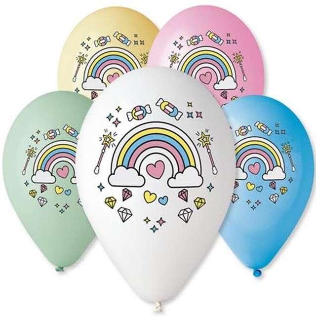 "Balony 12"", ""Magiczna Tęcza"", GEMAR, MIX, 5 szt"