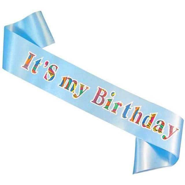 """Szarfa """"Its my birthday"""", GODAN, błękitna jasna"""
