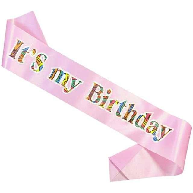 """Szarfa """"Its my birthday"""", GODAN, różowa jasna"""