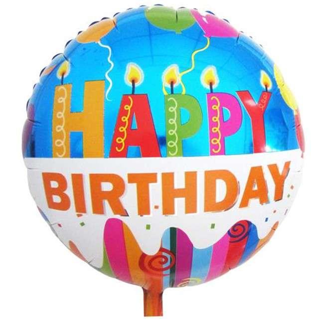 """Balon foliowy """"HAPPY BIRTHDAY -  świeczki"""", GODAN, 18"""" RND"""