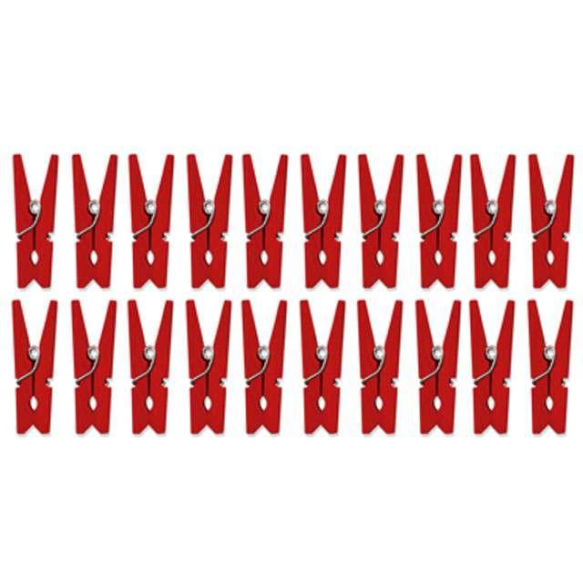 Klamerki drewniane 3,0 cm, czerwone, 20 szt