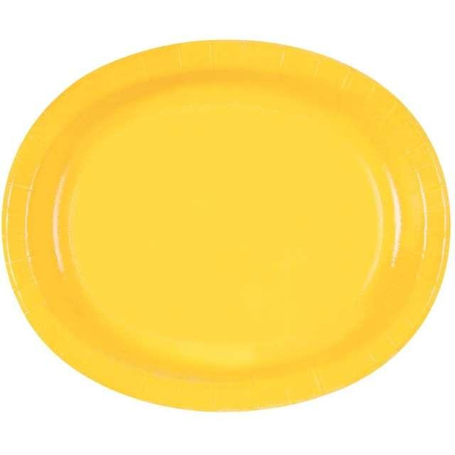 """Talerzyki papierowe """"Oval Classic"""", żółte, 30 cm, 8 szt"""