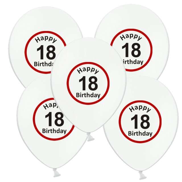 """Balony 12"""", """"Urodziny 18 znak"""", biały pastel, 5 szt"""