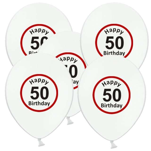 """Balony 12"""", """"Urodziny 50 znak"""", biały pastel, 5 szt"""