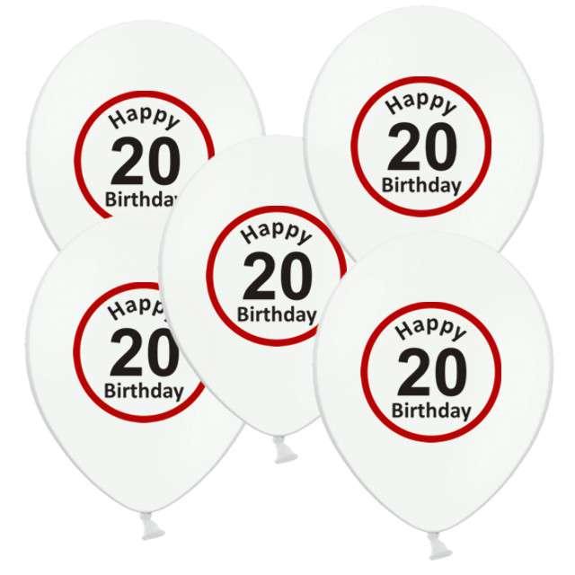 """Balony 12"""", """"Urodziny 20 znak"""", biały pastel, 5 szt"""
