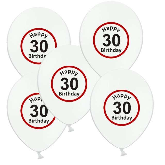 """Balony 12"""", """"Urodziny 30 znak"""", biały pastel, 5 szt"""