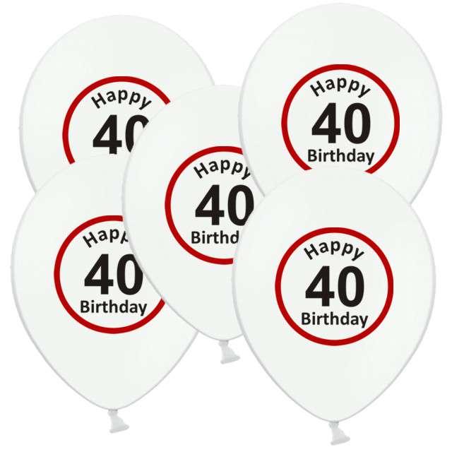 """Balony 12"""", """"Urodziny 40 znak"""", biały pastel, 5 szt"""