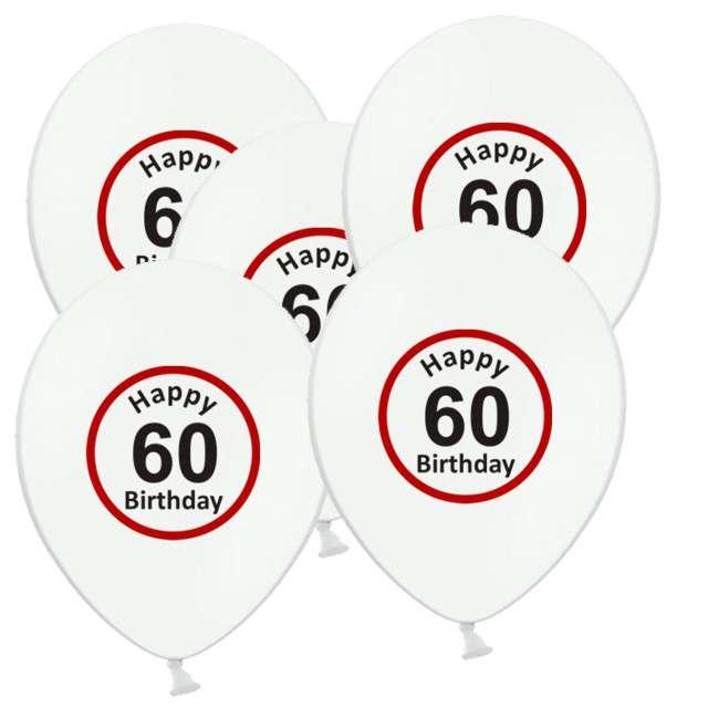 """Balony 12"""", """"Urodziny 60 znak"""", biały pastel, 5 szt"""