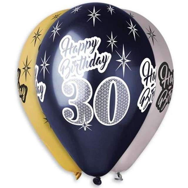 "Balony ""30 Happy Birthday"", metalik mix, GEMAR, 12"", 6 szt"