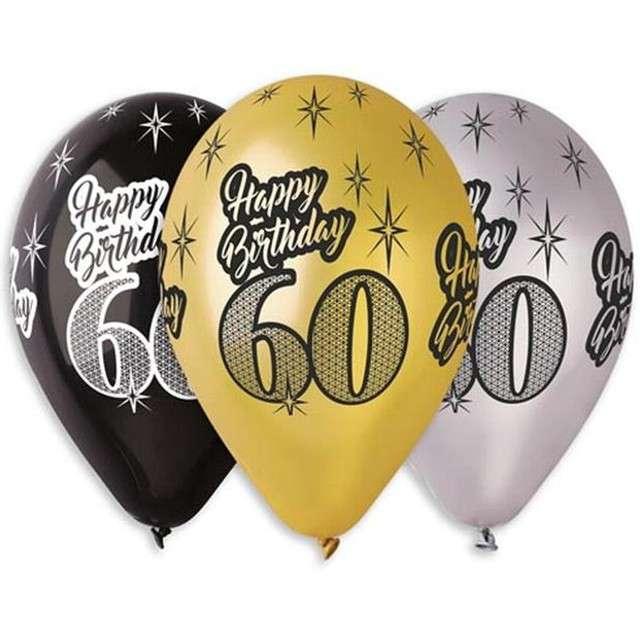 "Balony ""60 Happy Birthday"", metalik mix, GEMAR, 12"", 6 szt"
