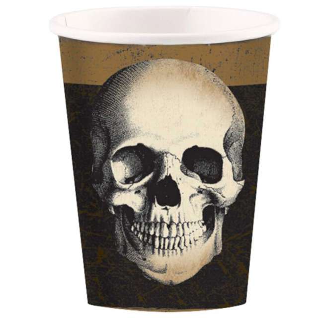 "Kubeczki papierowe ""Czaszka Boneyard"", 266 ml, AMSCAN, 10 szt"