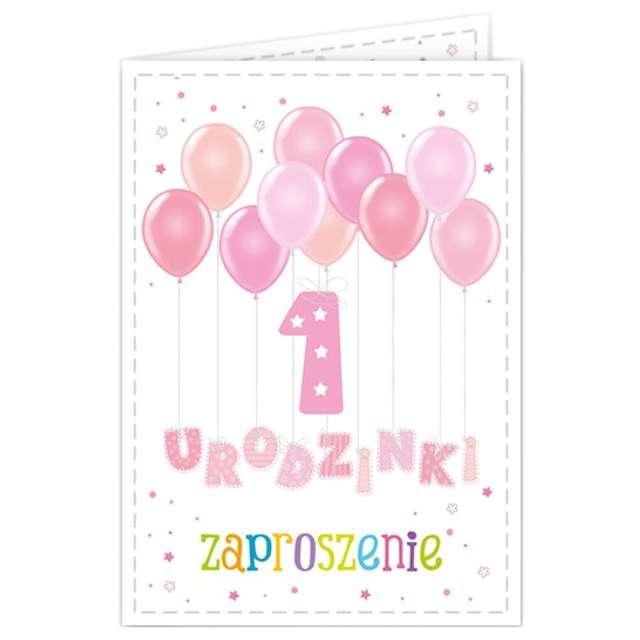 """Zaproszenia urodzinowe """"Urodziny 1 baloniki różowe"""", 10 szt"""