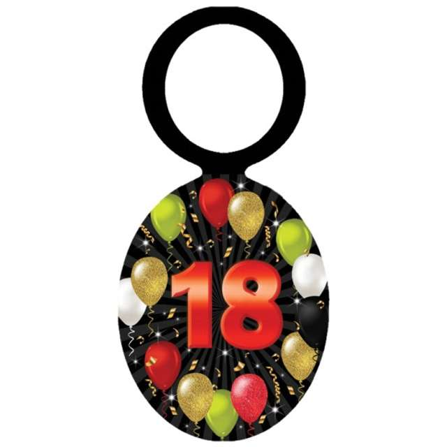 """Zawieszki na alkohol """"Urodziny 18 Black Balloons"""", 20 szt"""