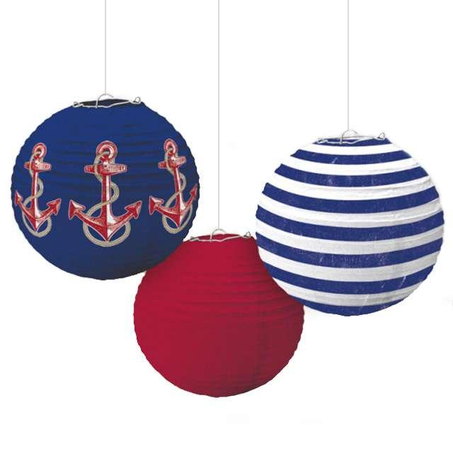 "Lampion papierowy ""Ahoy! Marynarz"", AMSCAN, 24 cm, 3 szt"