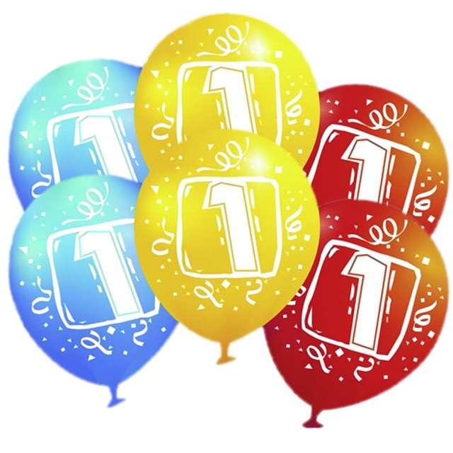 """Balony """"Urodziny 1"""", pastel mix, AMSCAN, 9"""", 6 szt"""