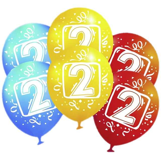 """Balony """"Urodziny 2"""", pastel mix, AMSCAN, 9"""", 6 szt"""