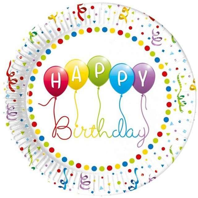 """Talerzyki papierowe """"Happy Birthday Baloniki"""", PROCOS, 23 cm, 8 szt"""