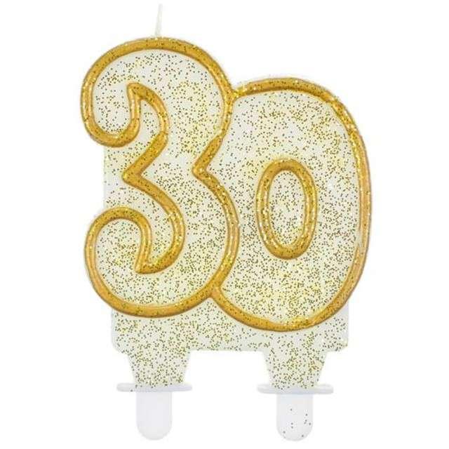 """Świeczka na tort """"30"""", GODAN, złoty kontur, 8 cm"""