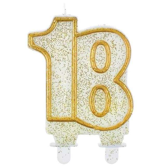 """Świeczka na tort """"18"""", GODAN, złoty kontur, 8 cm"""