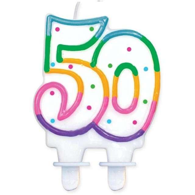 """Świeczka na tort """"50"""", GODAN, kropeczki, 8 cm"""