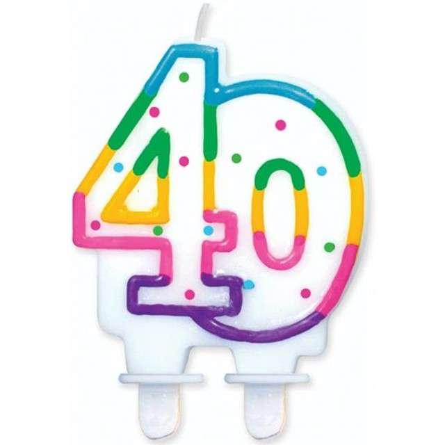 """Świeczka na tort """"40"""", GODAN, kropeczki, 8 cm"""